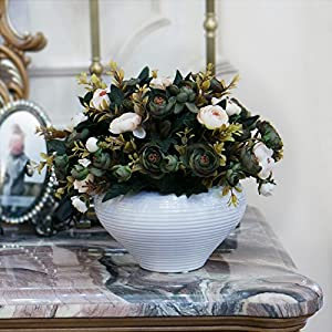 Situmi Artificial Fake Flowers Camellia Decorated In A Minimalist Style Green Home Accessories 14