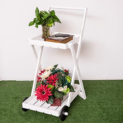 - Trolley Chunlan Practical with Wheels for Easy Storage of 2 Shelves, Ideal for Indoor Or Outdoor Use (Color : White)