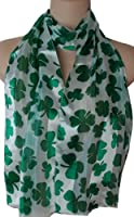 White & Green Shamrock Satin Stripe Oblong Scarf / Sash Belt / Headband