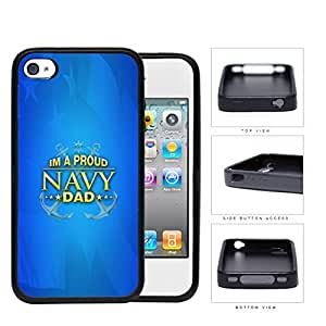 Im A Proud Navy Dad with Gold Letters and Blue Background & USA Flag iPhone 4 4s Rubber Silicone TPU Cell Phone Case
