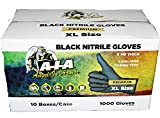 Black Nitrile Gloves 6 Mil Thick Premium Fully Textured Case of 1000 (2XL)