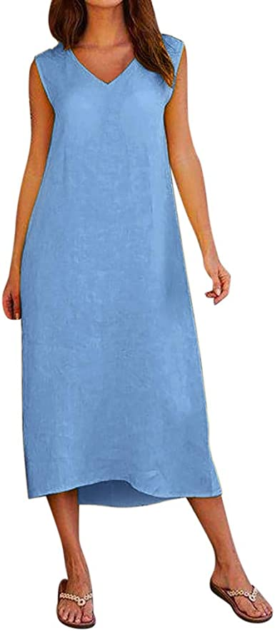 Swiusd Womens Comfy Cotton Linen Pocket Midi Dresses Casual Short Sleeve Solid Color O Neck Loose Dresses Clearance