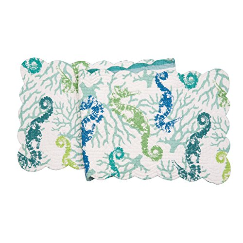 C&F Home Aquarius Cotton Quilted Reversible Table Runner 1451 Table Runner Aqua Green