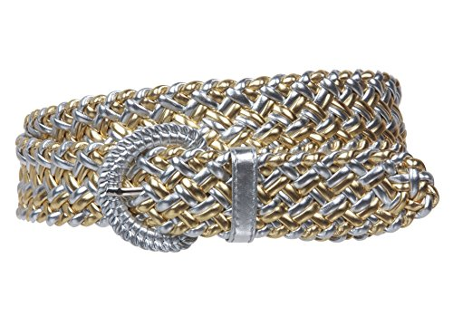 Metallic Braided Woven Belt - 1 1/4 Inch Wide Metallic Braided Woven Belt Size: M - 36 Color: Silver / Gold