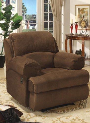Brown Finish Rocker Recliner - Microfiber Recliner Sofa Chair Rocker - Coco Brown Finish