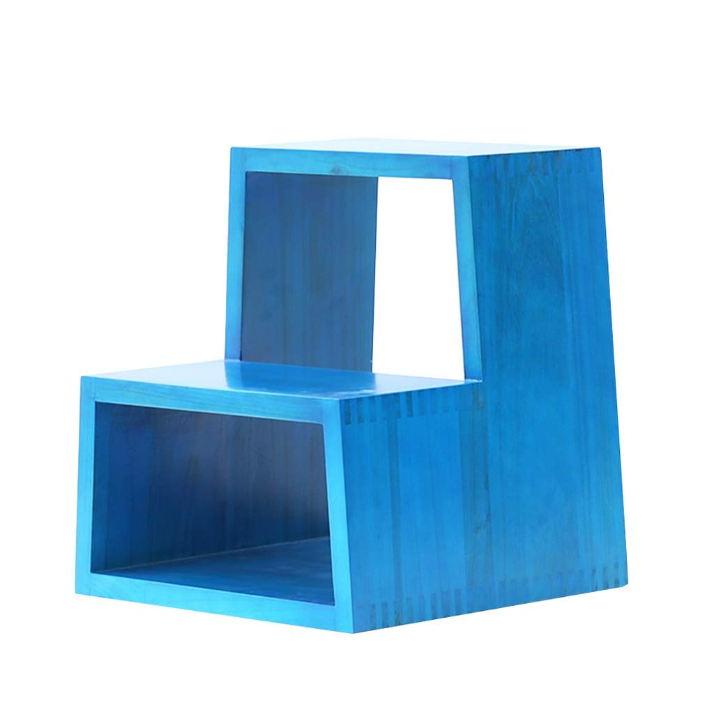 WCH 2ステップはしごスツール無垢材ステップスツール - 多機能チェンジシューズベンチ、エントランスキッチンスツール、容量150kg(4色) (Color : 青) B07QZBK65N 青