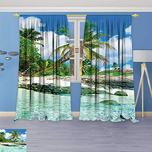 Philiphome Thermal Insulated Blackout Window Room Collection Scene Rocks Palms Shades Jungle Honeymoon Islands Remote Resort Leisure Teal Green Top Extra Long Curtains Set of 2 Panels 96W x 108L Inch ()