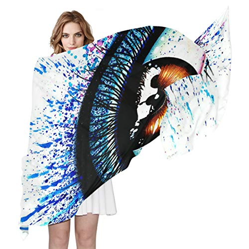 (Women Silk Scarf Signed Art Print Colorful Eye Personalized for Women Vacation Winter Decor)