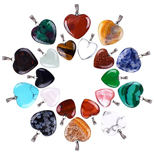 Outus 20 Pieces Heart Shape Stone Pendants Chakra Beads DIY Crystal Charms, 2 Different Sizes, Assorted Color - Gemstone Heart Pendant Bead