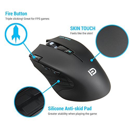 Wireless Gaming Mouse - 2.4GHz Optical Ergonomic USB Mice with Fire Button 6 Adjustment DPI 7 Buttons 6 Colors Breathing Lights for Mac Laptop PC Photo #7
