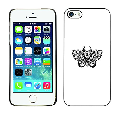 Price comparison product image CASER CASES / Apple Iphone 5 / 5S / Floral Tattoo Butterfly Pattern B&W / Slim Black Plastic Case Cover Shell Armor
