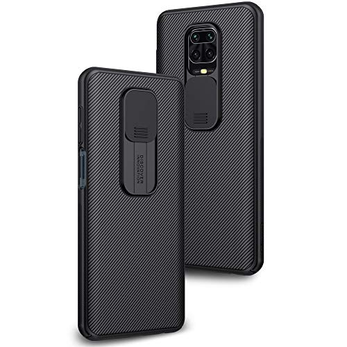 Case for Xiaomi Redmi Note 9 Pro/Note 9S, Camera Protection with Slim PC Slide Camera Lenses Cover, Stylish Protective Case Anti-Scratch Non-slip - Black