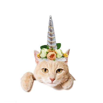 Stock Show 1Pc Halloween Pet Unicorn Shape Hat With Ribbon String Cat Dog Headwear Flower Decor Birthday Party Festival Supplies