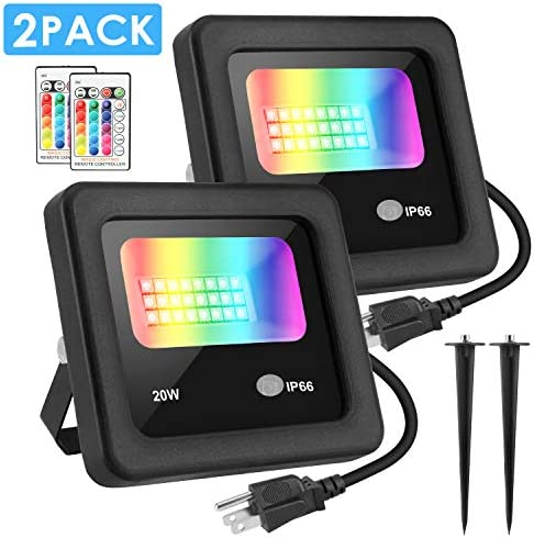 LED Flood Light, MOICO 20W RGB Color Changing Floodlight with Remote Control, IP66 Waterproof Outdoor Indoor Flood light Spotlight, 4 Modes Dimmable Wall Stage Light for Party, Garden, Landscape-2Pack