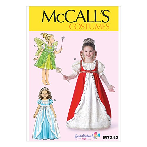 McCall's Costumes M7212, Children's Fairy Queen Costume Sewing Pattern, Sizes 3-8 ()