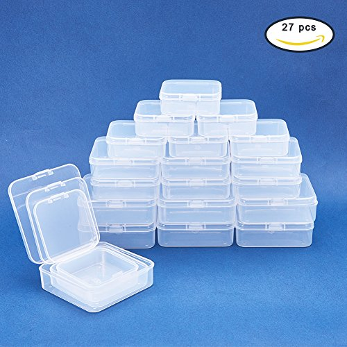 tiny plastic boxes benecreat 27 pack mixed size rectangle mini clear plastic bead storage. Black Bedroom Furniture Sets. Home Design Ideas