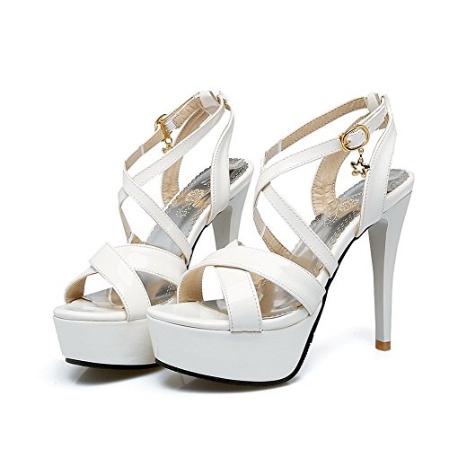 Heeled Solid Heeled Sandals White Sandals Charms MJS02488 Womens 1TO9 Urethane xHAqSw