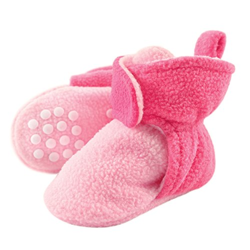 Luvable Friends Baby Cozy Fleece Booties with Non Skid Bottom, Light Dark Pink, 12-18 Months ()