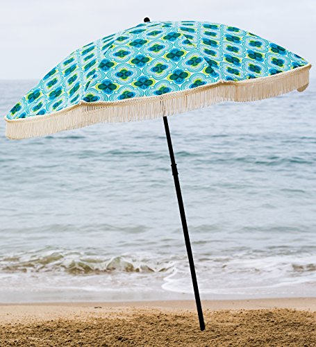 Beach Umbrella, Mermaid with Fringe, Designed by Beach Brella / 100% UV Sun Protection, Lightweight, Portable & easy to setup in the Sand and secure in the Wind (Brella Lights)