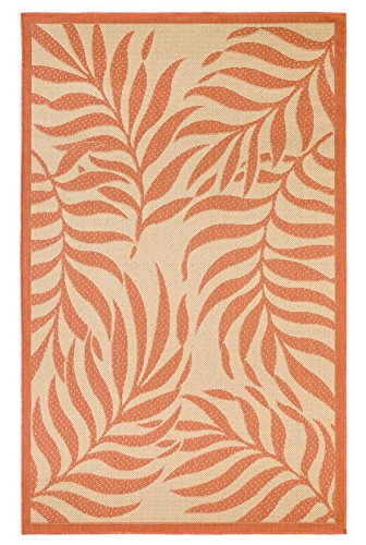 Outdoor Mats Flatweave Indoor Outdoor Rugs with Contemporary Tropical Design Area Rugs Patio Rug Flooring Carpets 8x10 (7'10''x9'10'', Coral) (Rug Dynasty Rug)