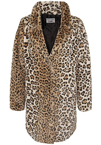 Stitch & Soul Damen Kunstfellmantel mit Leopard-Print | Weicher Winter-Mantel mit Animal Muster