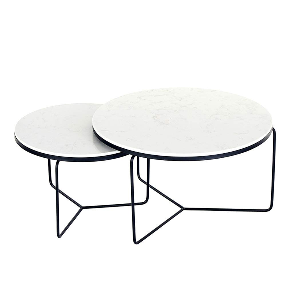Lcxliga Coffee Tables Nesting Coffees End Tables Marble Top Modern Furniture Decor Side Table Round Set of 2 by Lcxligang