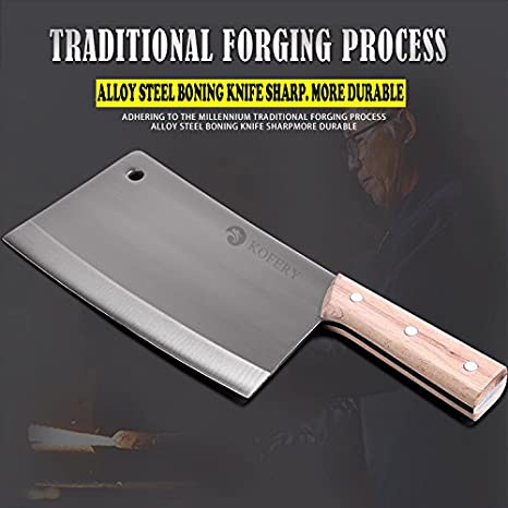 KOFERY 8-Inch Blade Handmade Forged Kitchen Stainless Steel Cleaver Chopper Butcher Knife Heavy-duty Cleaver with Full Tang Wooden Handle Chicken Bone ...