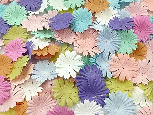 NAVA CHIANGMAI 100 pcs Daisy Mulberry Paper Flower Petals Artificial Craft Scrapbooking Embellishment,Wedding Supply Accessory DIY,Assorted Color Petal Flower (Sweet Color)