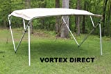 TAN/BEIGE SQUARE TUBE FRAME VORTEX 4 BOW PONTOON/DECK BOAT BIMINI TOP 8' LONG, 91-96
