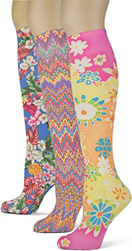Knee High Trouser Socks w/Colorful Printed Patterns - Made in USA by Sox Trot (3 Brighten-Up)