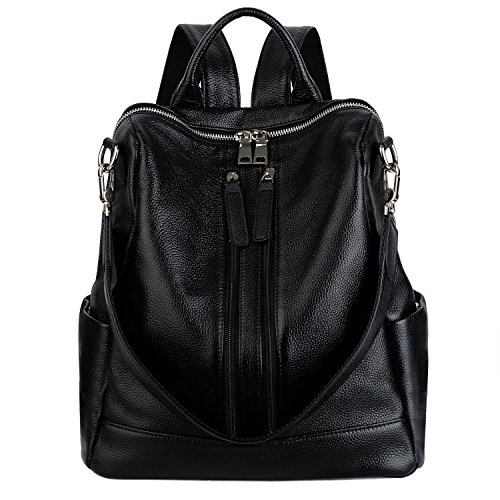 YALUXE Women's Convertible Real Leather Backpack Versatile Shoulder Bag (Upgraded 3.0) Black by YALUXE