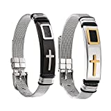 """Aienid Stainless Steel Bracelet for Men Bangle for Women Cross """"The Honor of Knight"""" Mesh Chain Silver 21CM Adjustable"""