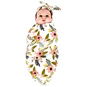 Newborn Baby Swaddle Blanket and Headband Value Set,Receiving Blankets
