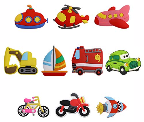 PENTA ANGEL Transports Car Fridge Magnets 10Pcs Airplane Helicopter Sailboat Bicycle Motorcycle Rubber Whiteboard Refrigerator Magnets for Home Decoration Kids Educational (Transportation Tool)