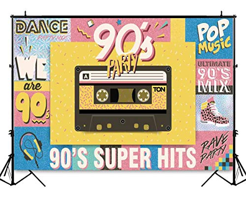 Funnytree 7x5ft Hip Pop 90's Vintage Party Backdrop Graffiti Retro Music 90th Themed Birthday Background Colorful Banner Cake Table Decorations Photo Studio Photography Props ()