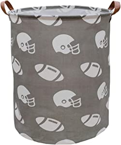 ASKETAM Laundry Basket,Canvas Fabric Laundry Hamper,Dirty Clothes Storage Bin,Collapsible Toy Organizer for Office,Bedroom, Clothes,Toys,Gift Basket (Rugby)