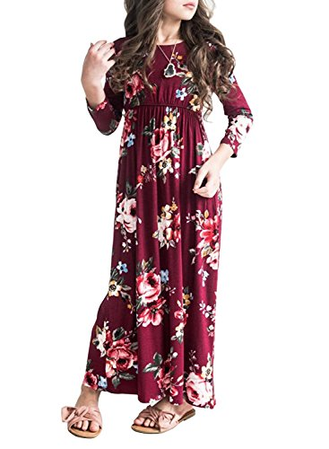 MITILLY Girls Flower 3/4 Sleeve Pleated Casual Swing Long Maxi Dress with Pockets 10 Years Burgundy -