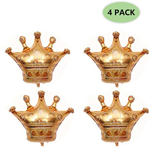 Crowns Gold Foil - 4 Pack Crown Balloons, Foil Helium
