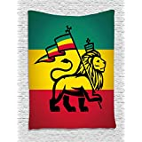 Rasta Tapestry by Ambesonne, Judah Lion with a Rastafari Flag King Jungle Reggae Theme Art Print, Wall Hanging for Bedroom Living Room Dorm, 40 W X 60 L Inches, Black Green Yellow and Red