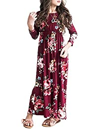 Girls Flower 3/4 Sleeve Pleated Casual Swing Long Maxi Dress with Pockets