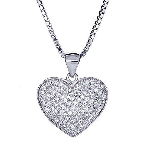 .925 Sterling Silver True Heart Micro Pave Pendant (6 grams) (20) (Micro Pave Heart)