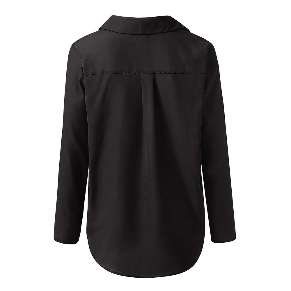 Bluse Donna Elegante Chiffon Camicia Manica Lunga di Lavoro V-Collo Casual Moda Tinta Unita Taglie Forti ITISME Top S-5Xl