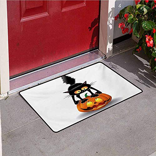 Jinguizi Halloween Inlet Outdoor Door mat Black Cat on Pumpkin Drawing Spooky Cartoon Characters Halloween Humor Art Catch dust Snow and mud W31.5 x L47.2 Inch Orange Black]()