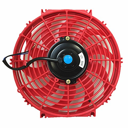 Upgr8 Universal High Performance 12V Slim Electric Cooling Radiator Fan With Fan Mounting Kit (12 Inch, Red) (Golf Radiator Fan Motor Blade)