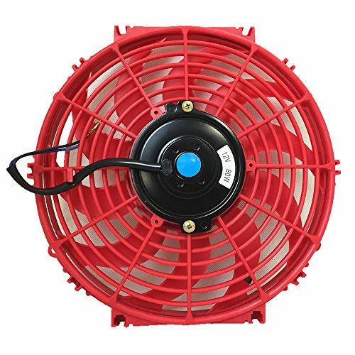 Upgr8 Universal High Performance 12V Slim Electric Cooling Radiator Fan with Fan Mounting Kit (12 Inch, - Motor Golf Radiator Fan Blade