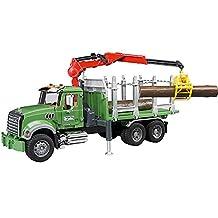 Bruder MACK Granite Timber Truck with Loading Crane and 3 Trunks