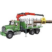 BRUDER - 02824 - Camion de transport de bois MACK Granite vert avec grue et rondins de bois