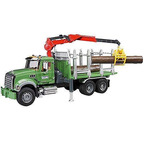 Bruder 02824 - Camion de transport de bois MACK Granite vert avec grue et rondins de bois