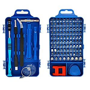 Precision Screwdriver Set, Ufanore 110 in 1 Professional Screwdriver set, Multi-function Magnetic Repair Computer Tool Kit Compatible with iPhone/iPad/Android/Laptop/PC etc (Blue)