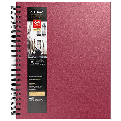 Arteza Watercolor Sketchbook, 9x12 Inch, Pink Hardcover Journal, 64 Pages, 140lb/300gsm Watercolor Paper Pad, Spiral-Bound, Art Supplies for Watercolors, Gouache, Acrylics, Pencils, Wet & Dry Media